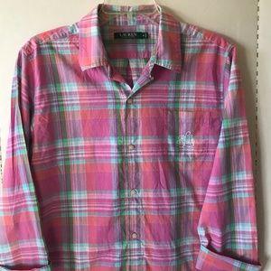 Women Lauren Ralph Lauren Pink Plaid  Shirt Sz M